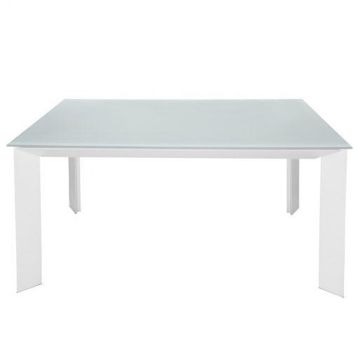 Mesa Extensível Nia Crystal Branco / Legs Branco Mate